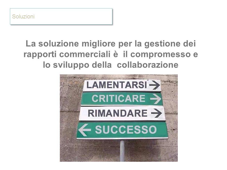 Soluzioni La soluzione migliore per la gestione dei rapporti commerciali è il compromesso e lo sviluppo della collaborazione.