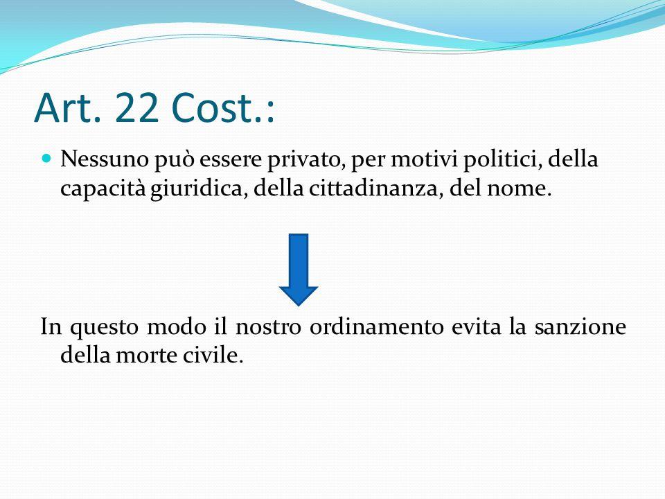 Art. 22 Cost.: Nessuno può essere privato, per motivi politici, della capacità giuridica, della cittadinanza, del nome.