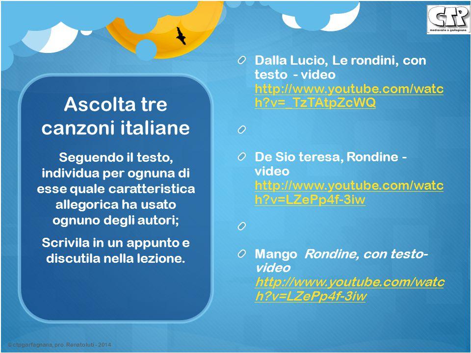 Ascolta tre canzoni italiane