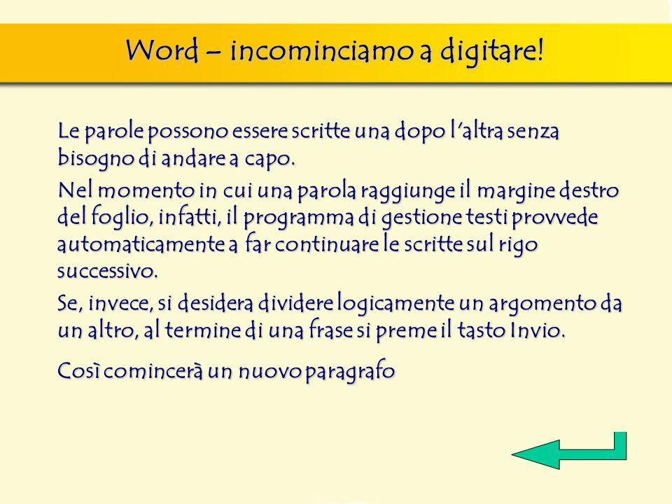 Word – incominciamo a digitare!