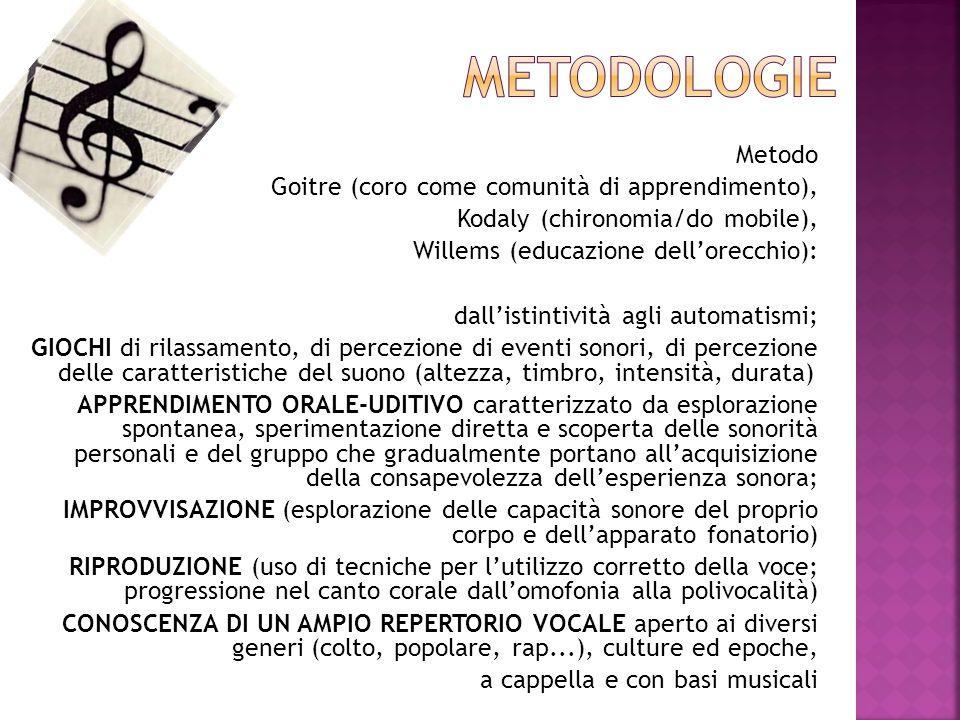 METODOLOGIE Metodo Goitre (coro come comunità di apprendimento),