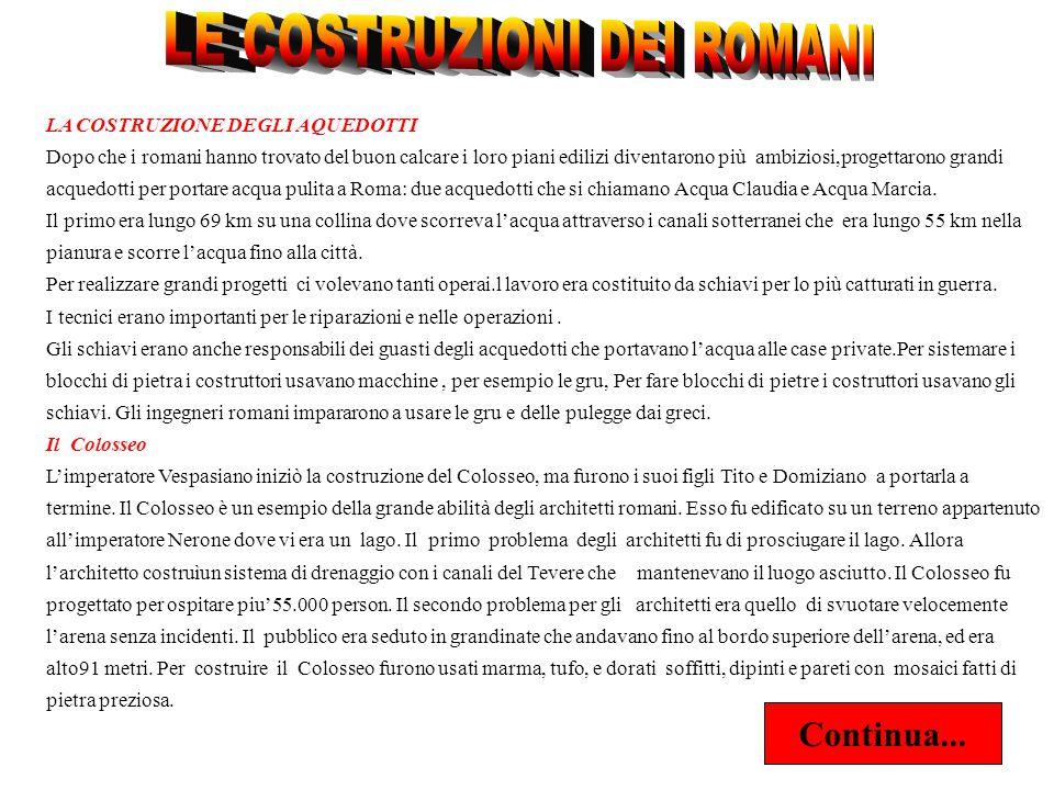 LE COSTRUZIONI DEI ROMANI