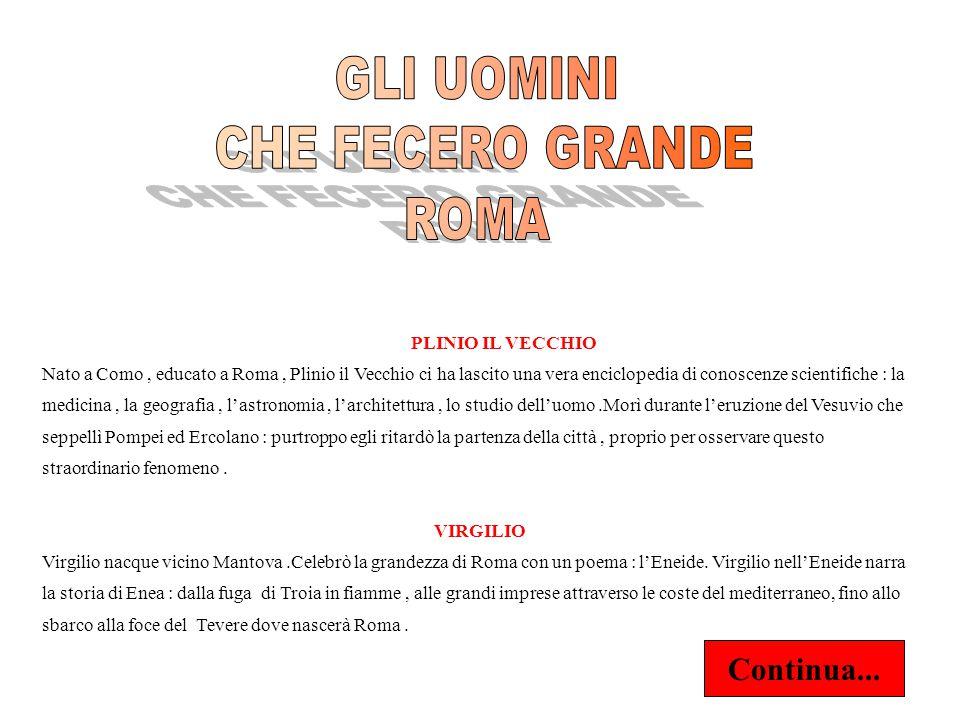 GLI UOMINI CHE FECERO GRANDE ROMA Continua... PLINIO IL VECCHIO