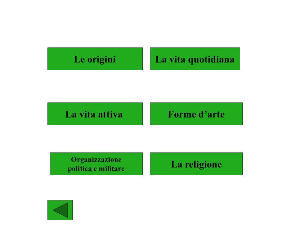 Le origini La vita quotidiana La vita attiva Forme d'arte La religione