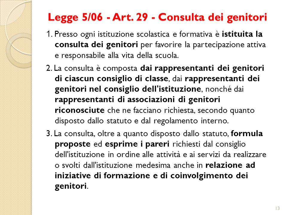 Legge 5/06 - Art. 29 - Consulta dei genitori