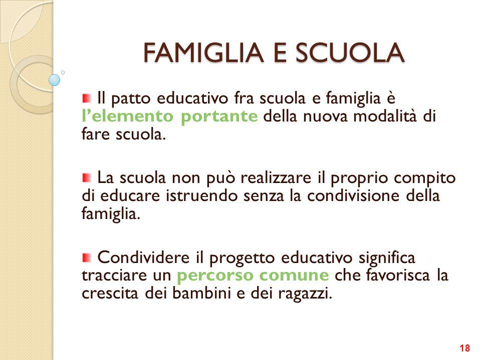 FAMIGLIA E SCUOLA Il patto educativo fra scuola e famiglia è l'elemento portante della nuova modalità di fare scuola.