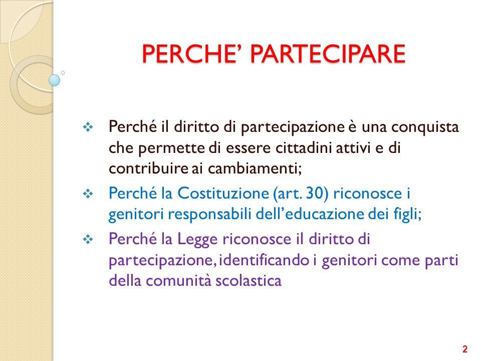 PERCHE' PARTECIPARE Perché il diritto di partecipazione è una conquista che permette di essere cittadini attivi e di contribuire ai cambiamenti;