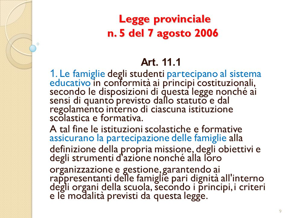 Legge provinciale n. 5 del 7 agosto 2006