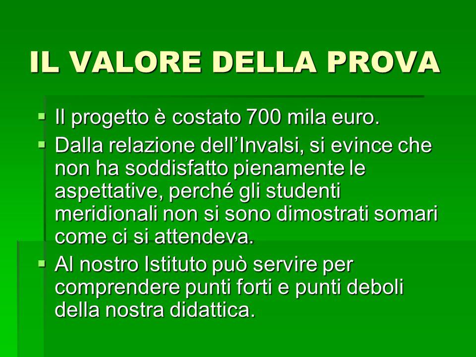 IL VALORE DELLA PROVA Il progetto è costato 700 mila euro.