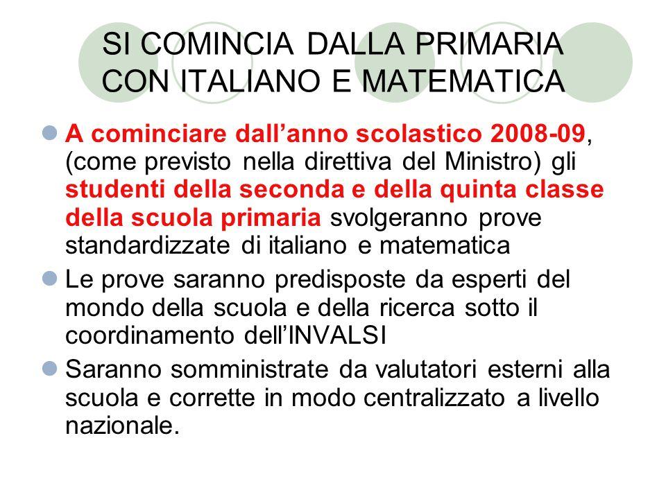 SI COMINCIA DALLA PRIMARIA CON ITALIANO E MATEMATICA