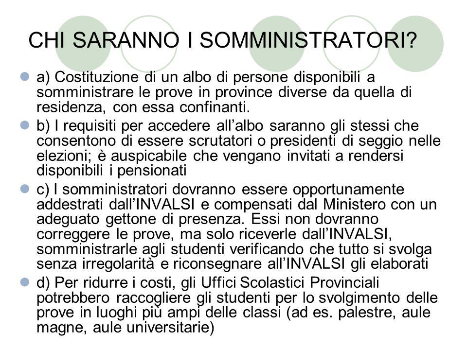 CHI SARANNO I SOMMINISTRATORI