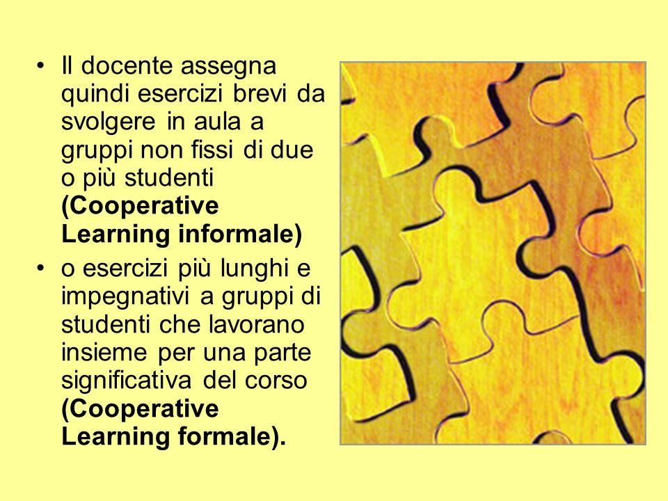 Il docente assegna quindi esercizi brevi da svolgere in aula a gruppi non fissi di due o più studenti (Cooperative Learning informale)