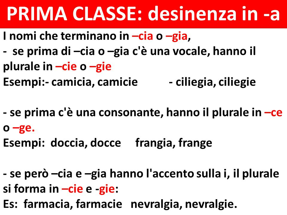 PRIMA CLASSE: desinenza in -a