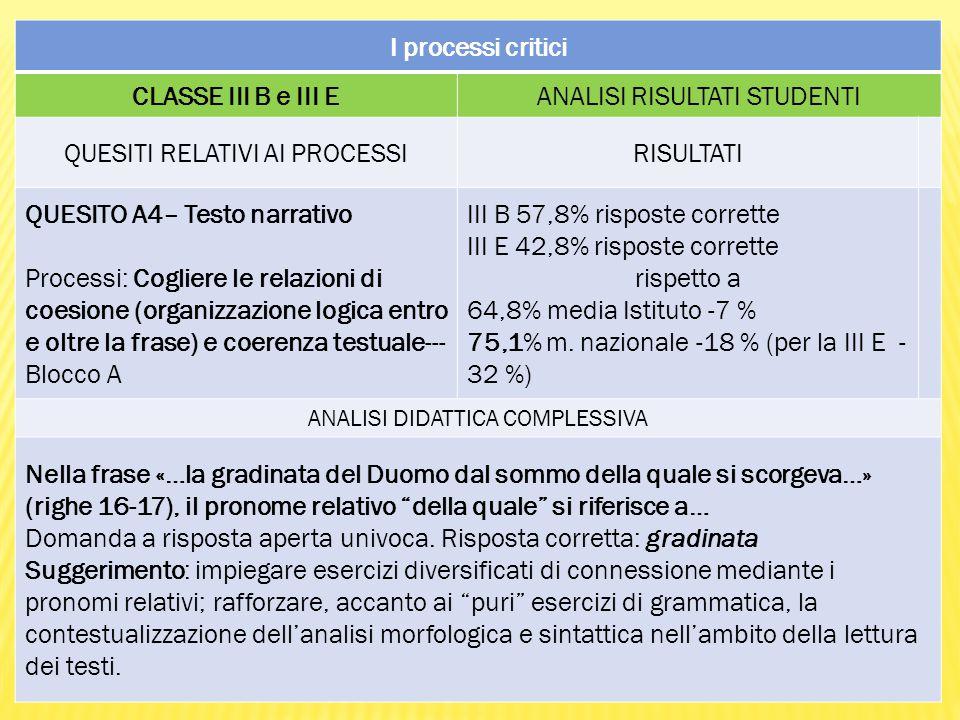 I processi critici CLASSE III B e III E