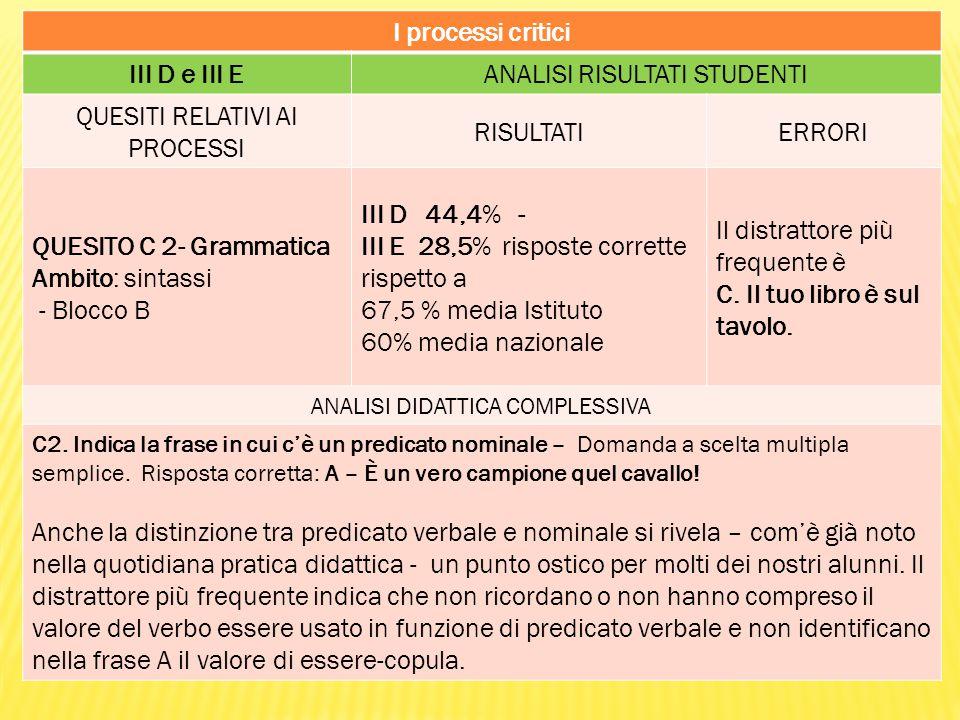 I processi critici III D e III E
