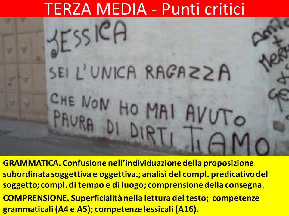 TERZA MEDIA - Punti critici