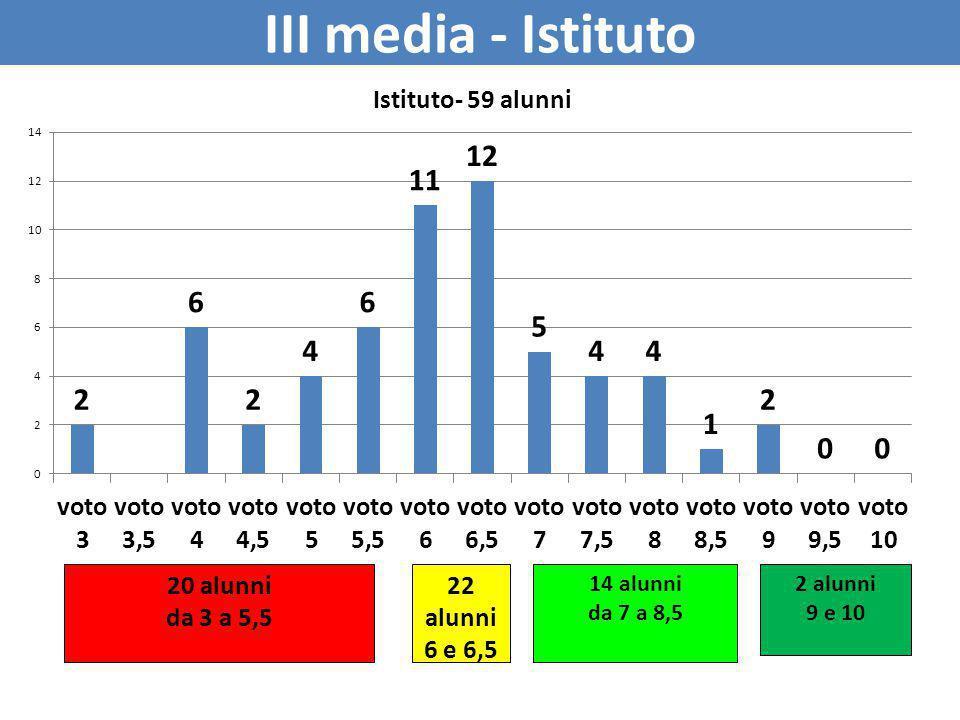 III media - Istituto 20 alunni da 3 a 5,5 22 alunni 6 e 6,5 14 alunni