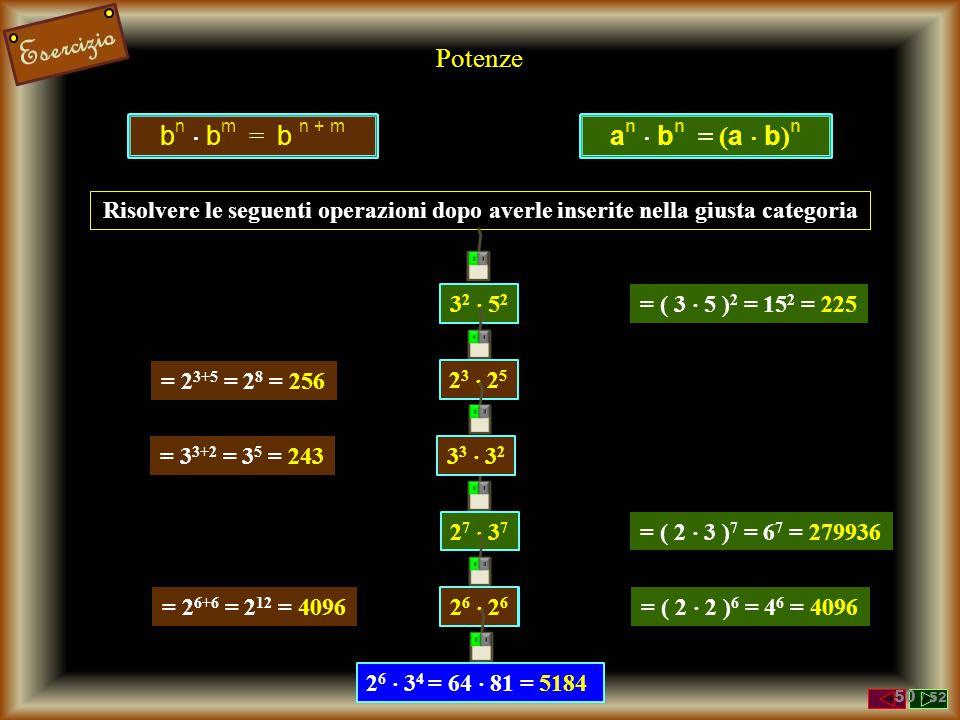 Potenze bn  bm = b n + m an  bn = (a  b)n