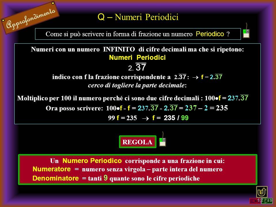 Q – Numeri Periodici Come si può scrivere in forma di frazione un numero Periodico