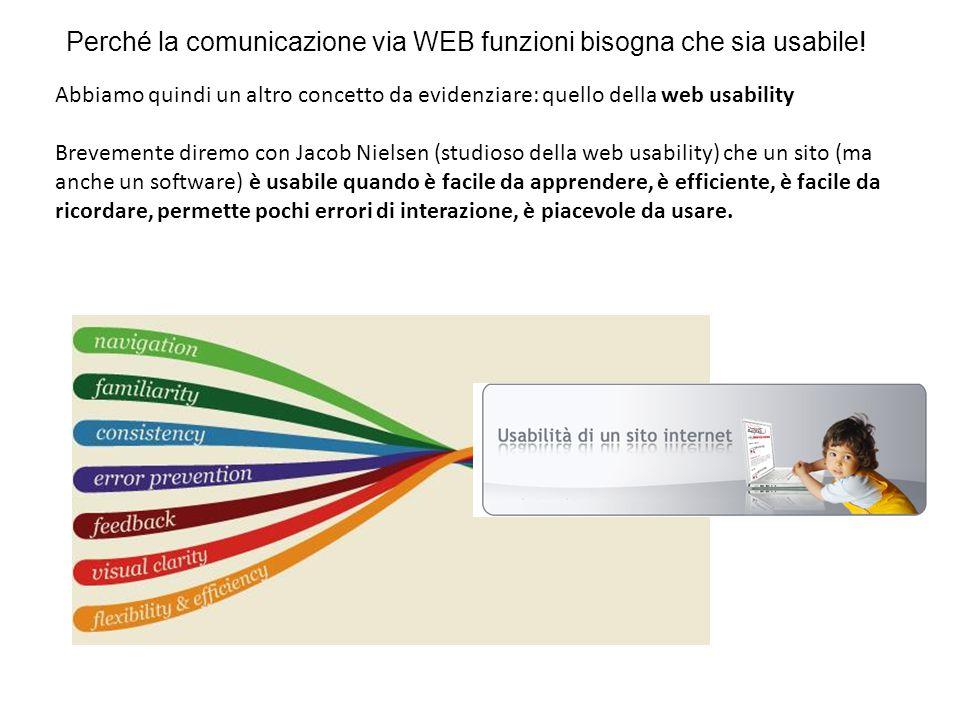 Perché la comunicazione via WEB funzioni bisogna che sia usabile!
