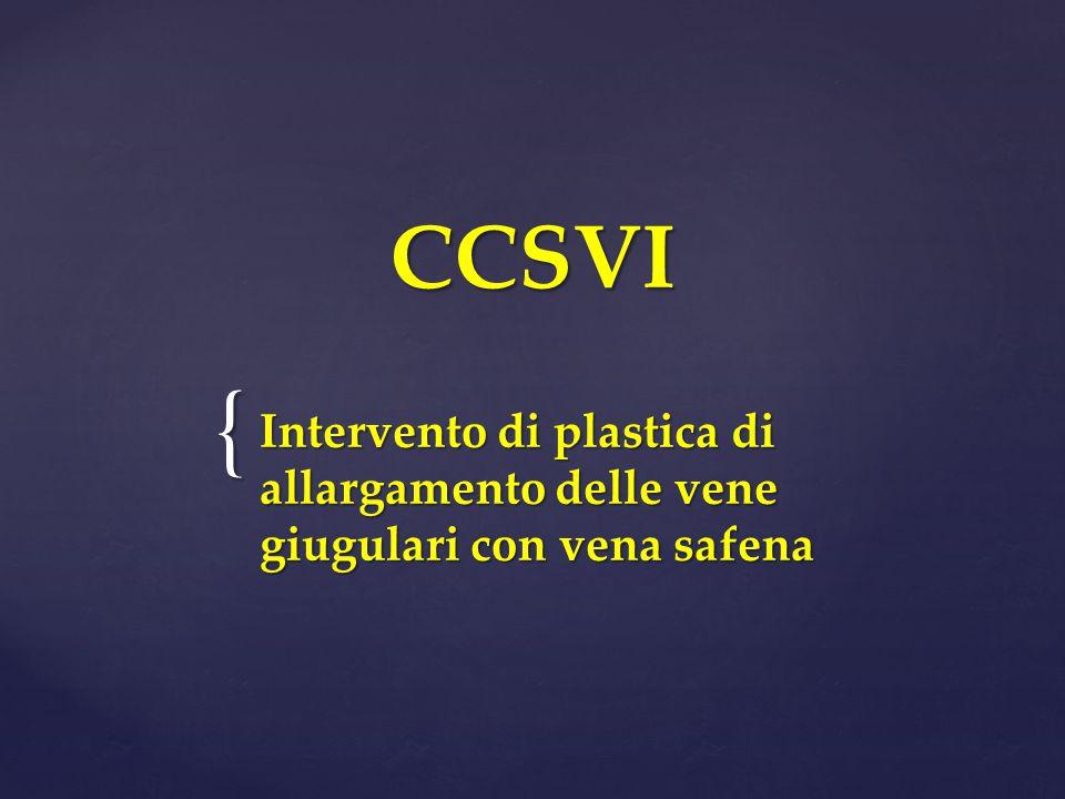 CCSVI Intervento di plastica di allargamento delle vene giugulari con vena safena