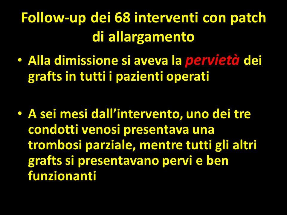 Follow-up dei 68 interventi con patch di allargamento