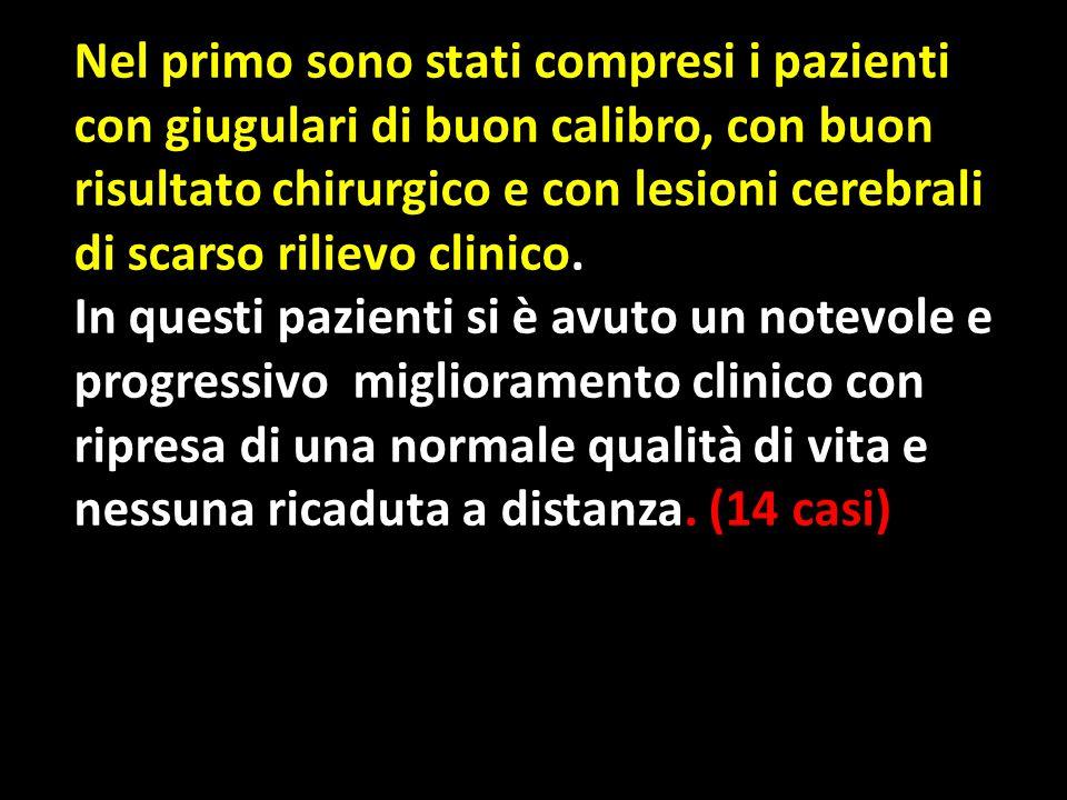 Nel primo sono stati compresi i pazienti con giugulari di buon calibro, con buon risultato chirurgico e con lesioni cerebrali di scarso rilievo clinico.