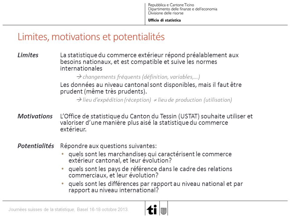 Limites, motivations et potentialités