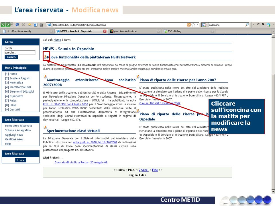 L'area riservata - Modifica news