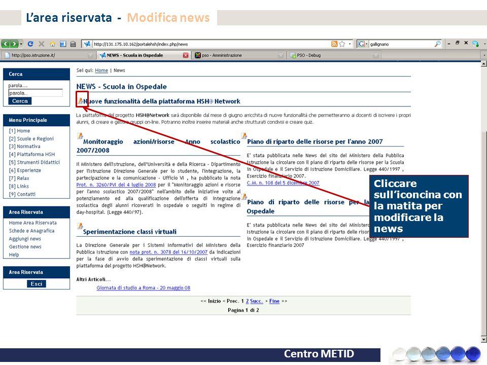 L'area riservata - Modifica news
