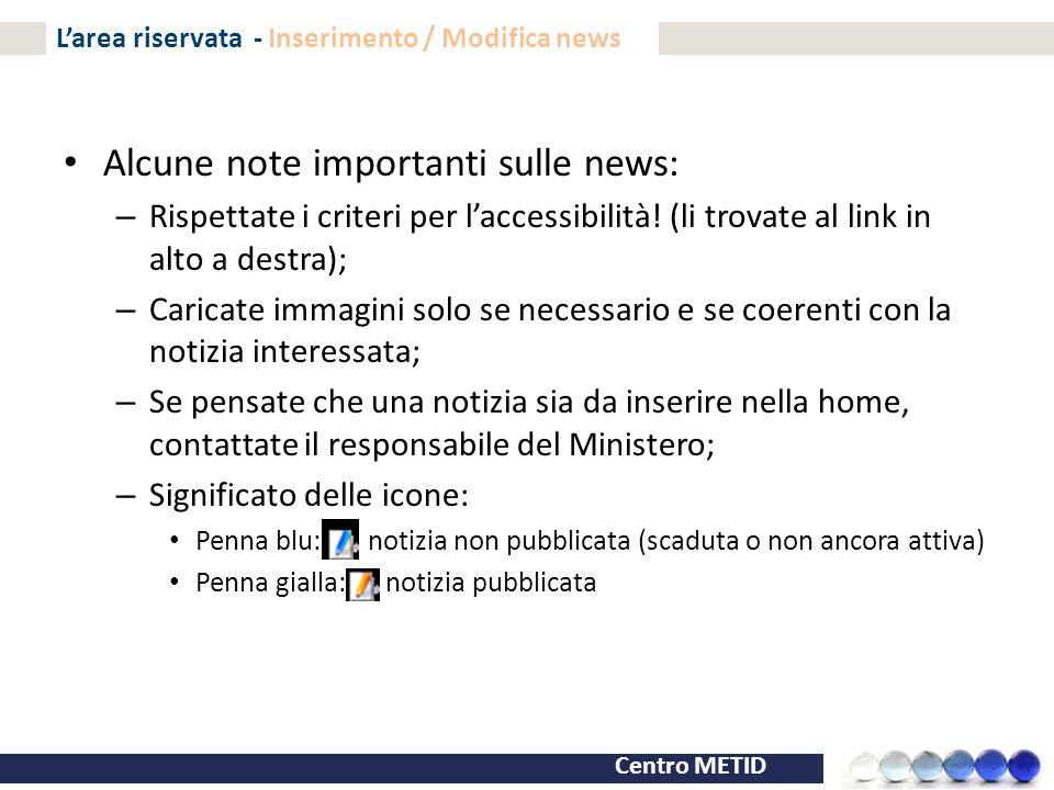 L'area riservata - Inserimento / Modifica news