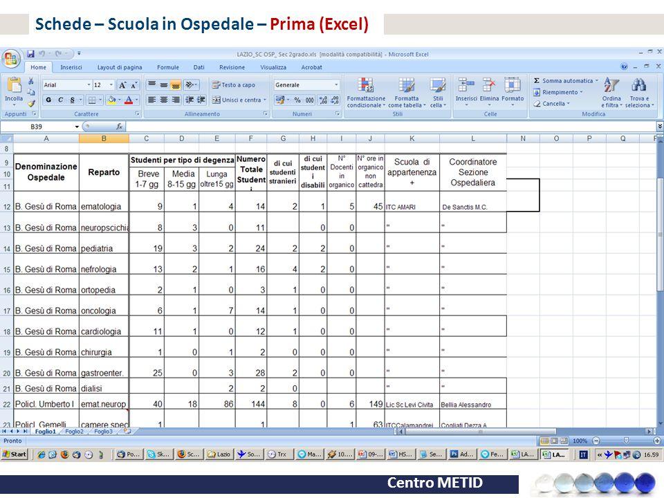 Schede – Scuola in Ospedale – Prima (Excel)
