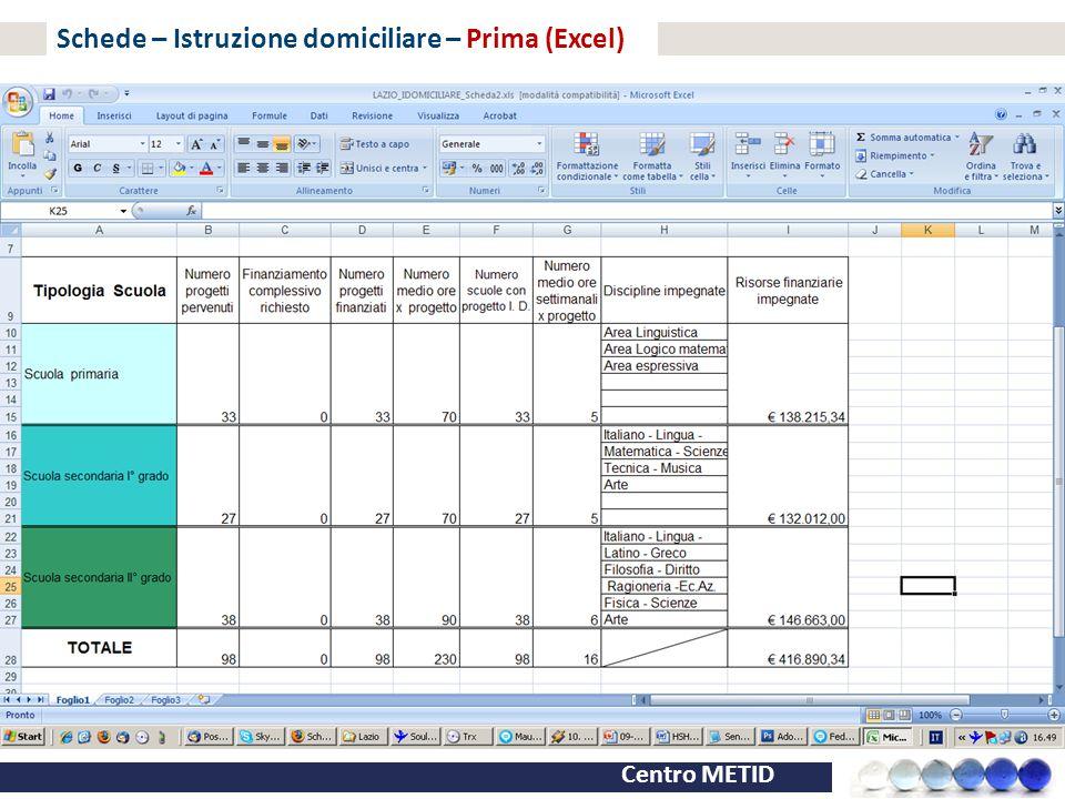 Schede – Istruzione domiciliare – Prima (Excel)