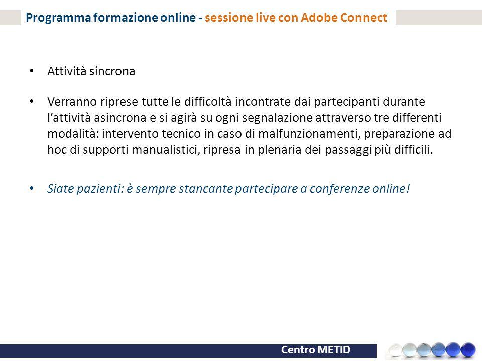 Programma formazione online - sessione live con Adobe Connect