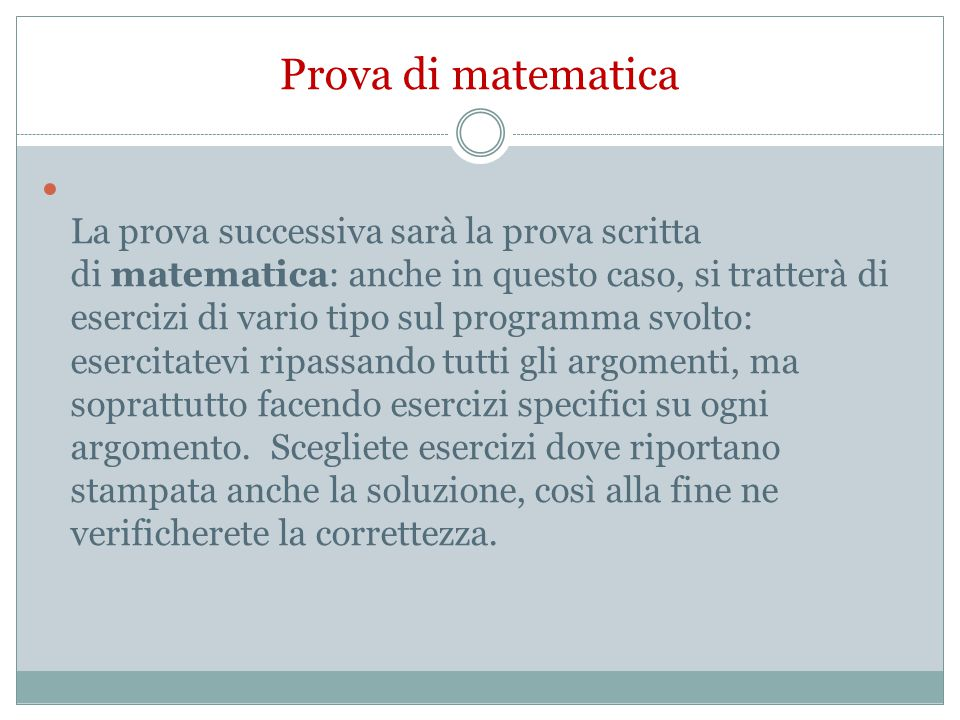 Prova di matematica