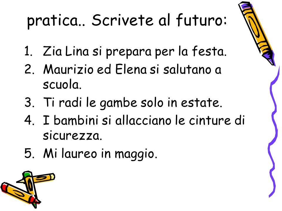 pratica.. Scrivete al futuro: