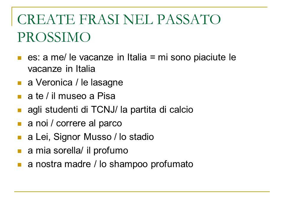 CREATE FRASI NEL PASSATO PROSSIMO