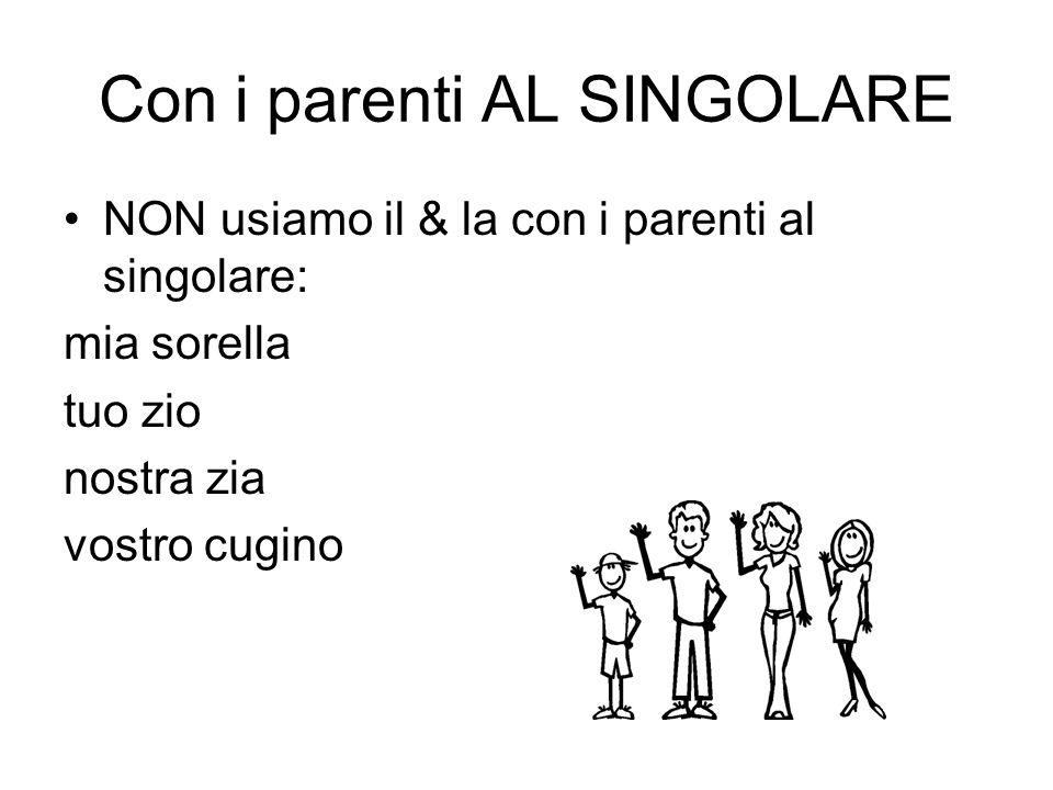 Con i parenti AL SINGOLARE