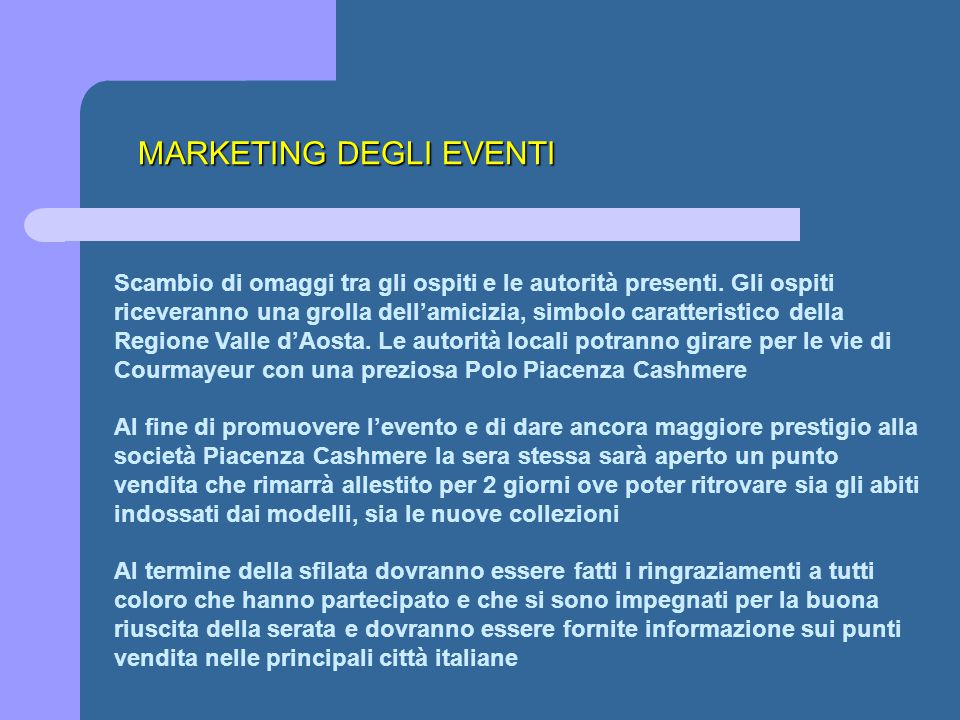 MARKETING DEGLI EVENTI
