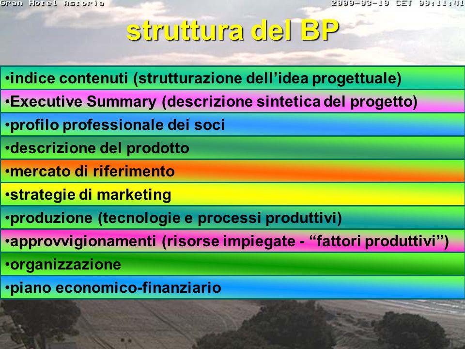 struttura del BP indice contenuti (strutturazione dell'idea progettuale) Executive Summary (descrizione sintetica del progetto)