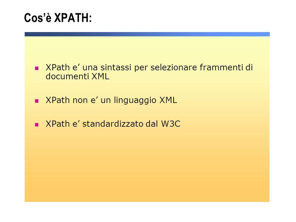 Cos'è XPATH: XPath e' una sintassi per selezionare frammenti di documenti XML. XPath non e' un linguaggio XML.