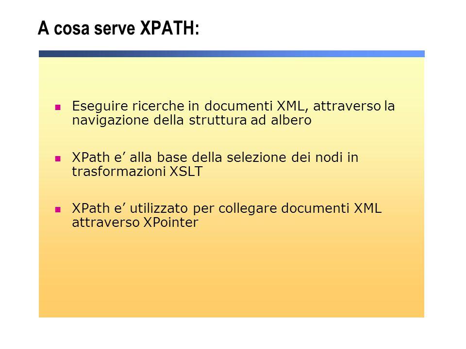 A cosa serve XPATH: Eseguire ricerche in documenti XML, attraverso la navigazione della struttura ad albero.