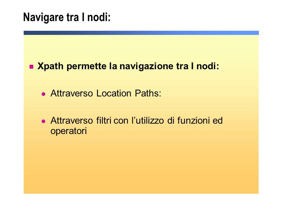 Navigare tra I nodi: Xpath permette la navigazione tra I nodi: