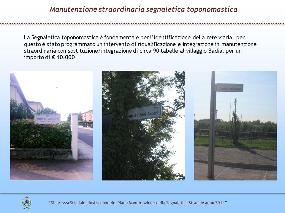 Manutenzione straordinaria segnaletica toponomastica