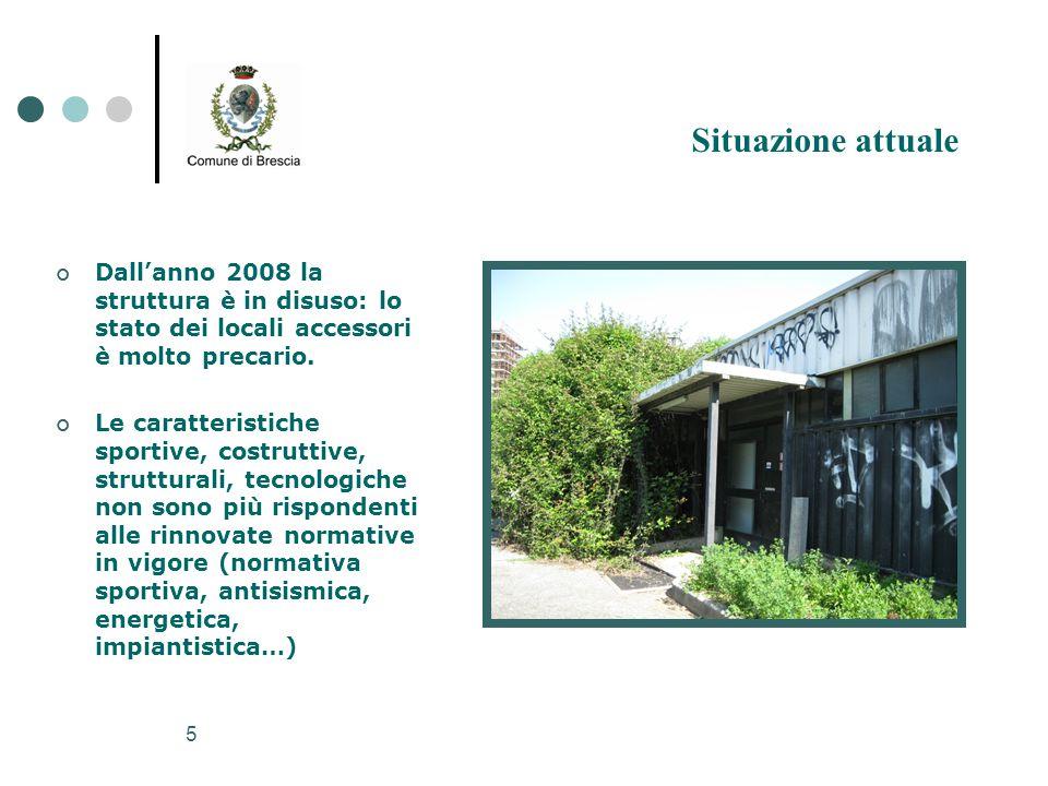 Situazione attuale Dall'anno 2008 la struttura è in disuso: lo stato dei locali accessori è molto precario.