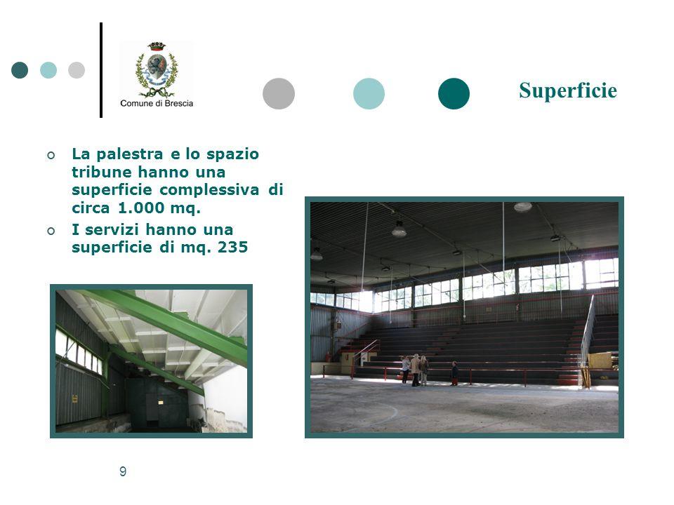Superficie La palestra e lo spazio tribune hanno una superficie complessiva di circa 1.000 mq.