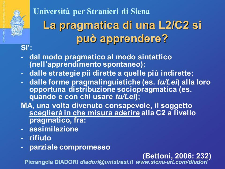 La pragmatica di una L2/C2 si può apprendere