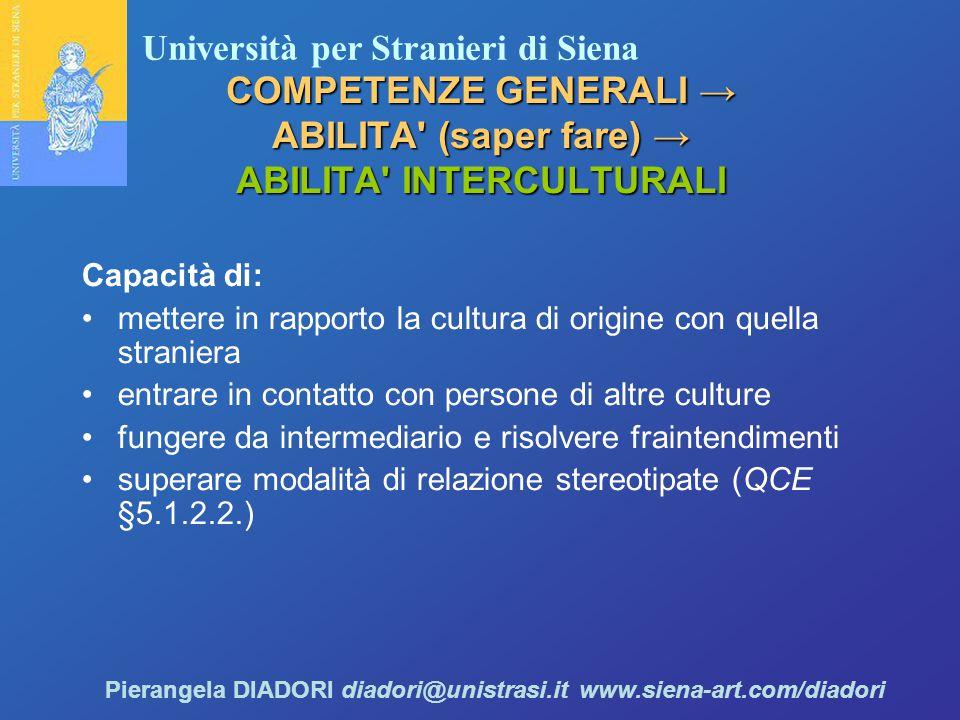 COMPETENZE GENERALI → ABILITA (saper fare) → ABILITA INTERCULTURALI