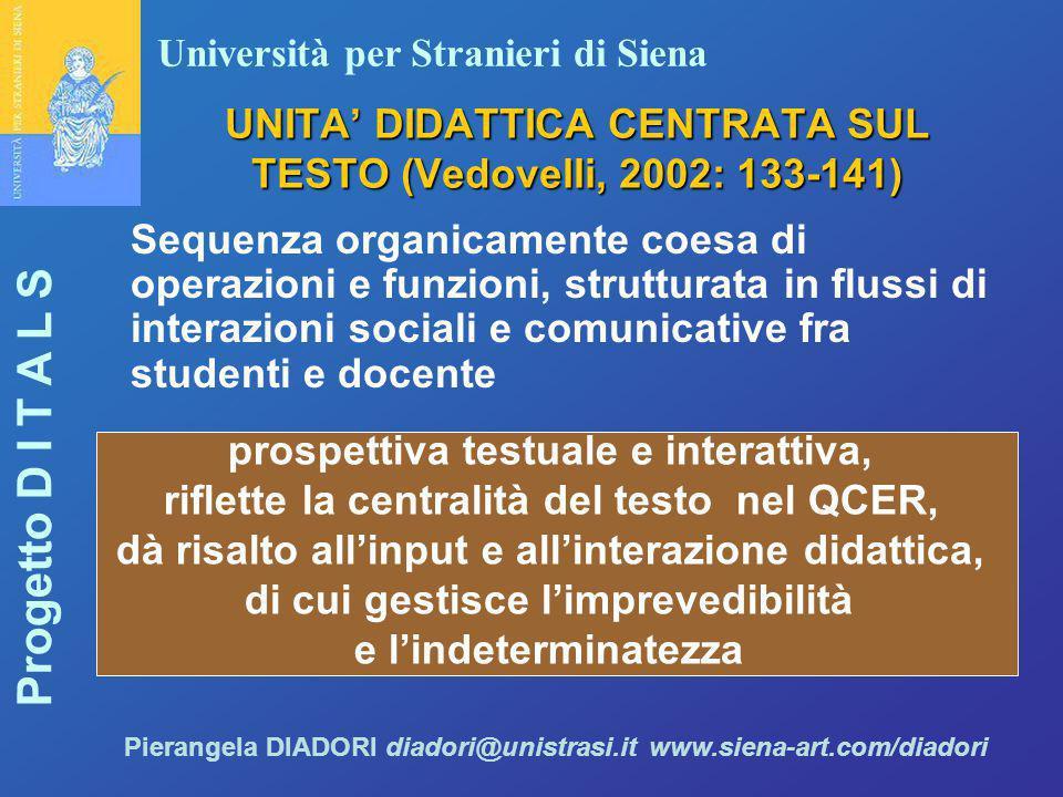 UNITA' DIDATTICA CENTRATA SUL TESTO (Vedovelli, 2002: 133-141)