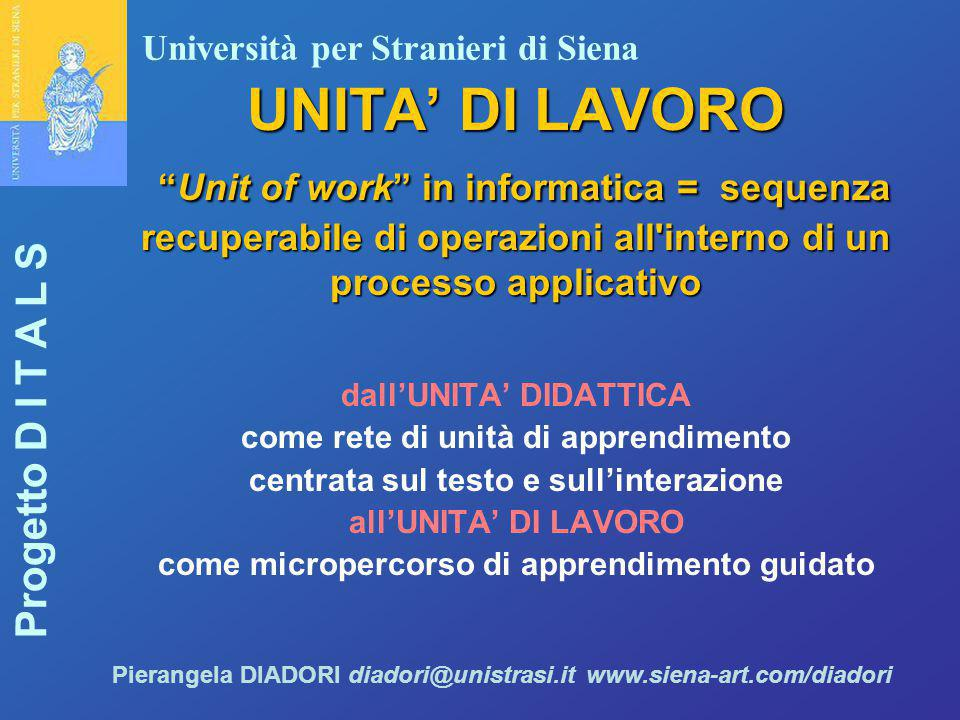 UNITA' DI LAVORO Unit of work in informatica = sequenza recuperabile di operazioni all interno di un processo applicativo
